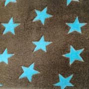 Kuschel- Fleece türkise Sterne auf braun, Flor- Höhe 4mm