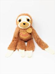 Kuscheltier Faultier für Spieluhr, personalisierbar mit Namen und Wunschmelodie,  aus Teddy Plüsch in45cm rostbraun