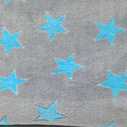 Kuschel- Fleece türkise Sterne auf grau, Flor- Höhe 4mm