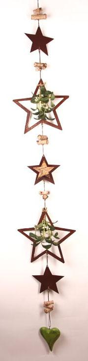 girlande, weihnachtsdeko, türkranz, metallsterne, tür deko, fenster deko