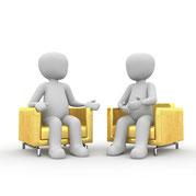 Illustration Gespräch zwei Personen auf Polstersessel
