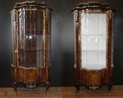 Ein Paar,Louis XV Vitrinen,Messing Applikationen, Blumenintarsien,Nussbaum,1920 , €3500,00