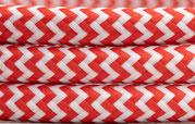 Textilkabel Rot-Weiß zickzack