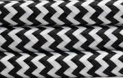 Textilkabel Schwarz-Weiss zickzack