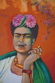 Bárbara Paulin Frida Kahlo Uhr Malerei orange grün
