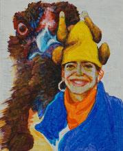 Bárbara Paulin Malerei Huhn Chicken Achtung gelb blau braun orange
