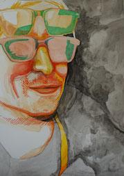 Bárbara Paulin Zeichnung orange grün gelb grau