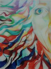 Zeichnung unter Acryl von Bárbara Paulin - Titel: Alter