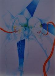 Zeichnung unter Acryl von Bárbara Paulin - Titel: Las hermanitas