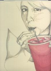 Zeichnung auf Papier von Bárbara Paulin - Titel: Mrs. Dominguez