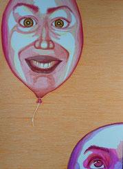 Bárbara Paulin Zeichnung Luftbalon orange lila weiß
