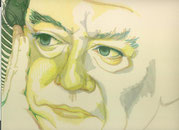 Zeichnung auf Papier von Bárbara Paulin - Titel: Mr. Hughes