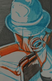 Bárbara Paulin Zeichnung Sessel Flasche Hut orange grün braun