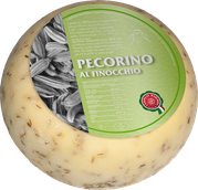 aromatic flavored pecorino with fennel cheese from sheep's milk 30 days of ripening aged on wooden planks 1200g block