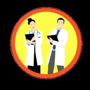 mueden.de, aktuelle Preise, Icon von Arzt und Ärztin mit gelbem Hintergrund.