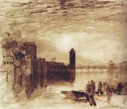 Luzern Mondaufgang über der Kappelbrücke um  1807-1819