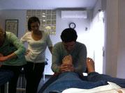 Podólogos aplicando tecnicas de osteopatia