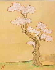 鎌倉時代の桜。山桜です。『西行物語絵巻』より。