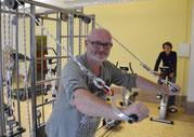 Der Vereinsvorsitzende Matthias Rochlitzer und Stellvertreterin Simone Weigelt im neuen Fitnessstudio, das am Mittwoch beim Tag der offenen Tür präsentiert wird. Zu bestaunen gibt es dann noch einiges mehr. Foto: Andreas Bauer