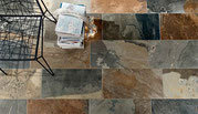 Rustic and earthy green, brown, blue, and rust porcelain tile that looks like slate. Stocked in Renton, WA.