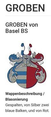 Coat of arms Von Groben (ident with coat of arms Von Graben) as the alleged ancrestors of the Graff (Grove, Groff, Graf) in Switzerland. Source: Wappenbuch der Stadt Basel; von Benedikt Meyer-Kraus, 1880