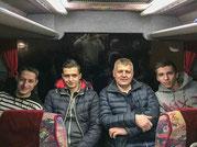 A.Werder,I.Matoshi,D.Paunovic,R.Ramirez im Derendinger Car nach Genf.