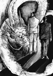 「竜の道 昇龍編」第1回挿絵 白川道著 ポンツーン(幻冬舎)2014年7月号