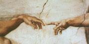 """фреска, Микеланджело """"Сотворение адама""""."""