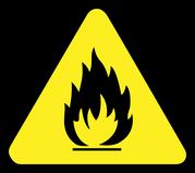 mueden.de, Leistung, Textilreinigung, Brandschutz, gelbes Icon für Feuer