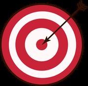 Rotweiß gestreifte Zielscheibe wird von einem Pfeil in der Mitte getroffen.