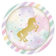 goldenes Einhorn auf Pastel, Unicorn, Regenbogen