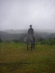 mit Jazzie im Regen auf dem Vulkan