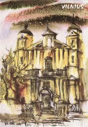 Vilnius. Šv. Petro ir Povilo bažnyčia. Dail. Vidmantas Vaitkevičius / Vilnius. St. Peter and Paul's square. Painter Vidmantas Vaitkevičius