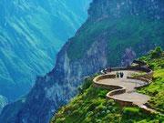 Flug des Konder, am Cruz del Condor im Colca Tal, der tiefsten Schlucht weltweit
