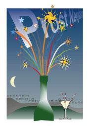 Eine Computergrafik als Gruß zum neuen Jahr. Veröffentlicht im Dezember 2011.  (C) W. Metschke