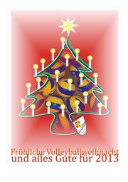 Eine Computergrafik als Gruß zum Weihnachtsfest 2012. Erstellt mit Corel Draw unter Verwendung eines Fotos (Volleybälle). (C) Dezember 2012 W. Metschke
