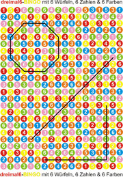 Markierungsbeispiele bei längerer Spieldauer bei dreimal 6 - BINGO