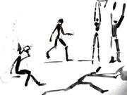Strichmännchen in Bewegung, Studien zum Menschenzeichnen