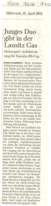 Training Lausitzring, Max Fritzsch, Toni Riedel, Freie Presse, April 2012