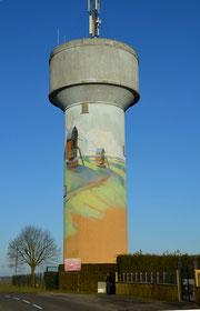 Fresque sur le château d'eau de Flesselles