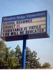 L'école reprend le 31 août. La résistance est futile, vous serez éduqué.