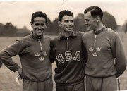 1948 London: Olympic medallists: Grut (SWE), Moore (USA), Gardin (SWE)
