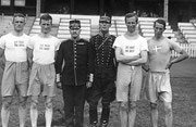 1920 Antwerp: Sweden's winning pentathletes. Champion, Gustav Dyrssen is second from right