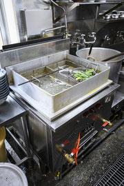 ▲小林熱機工業に特注した200ℓ用の特別仕様のスープ釜