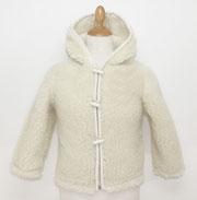 gilet enfant en laine naturelle de mouton avec capuche manche longue blouson veste cardigan hiver peaux fourrures pas cher site agneau lainage blanc 2 ans 4 - 6 - 8 - 10 dos manteauonly mouton zip bouton