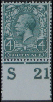 GREAT BRITAIN KGV 4d. Cyl. S 21.