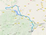 Übersichtskarte - Anfahrt von uns aus nach Estación Benaoján (c) Google Maps