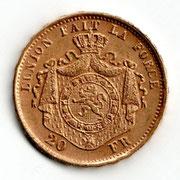 Investieren in das Edelmetall Gold 20 Francs Leopold II (Vorderseite)