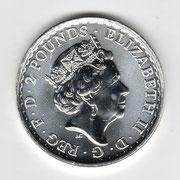 Investieren in das Edelmetall Silber Britannia  1 Unze (Vorderseite)