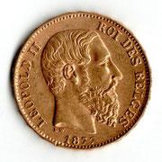 Investieren in das Edelmetall Gold 20 Francs Leopold II (Rückseite)